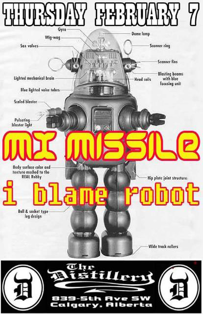 MX Missile gig poster - I-blame-robot at the Distillery