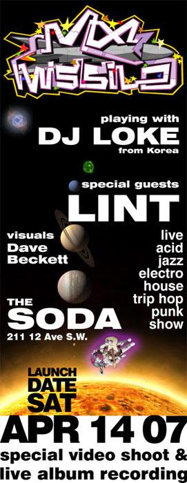 mx-missile - dj loke - lint - the Soda - gig poster