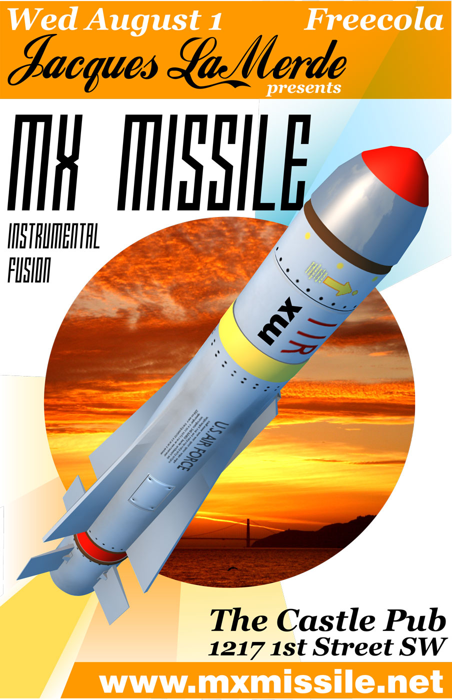 mx missile gig poster - castle-pub