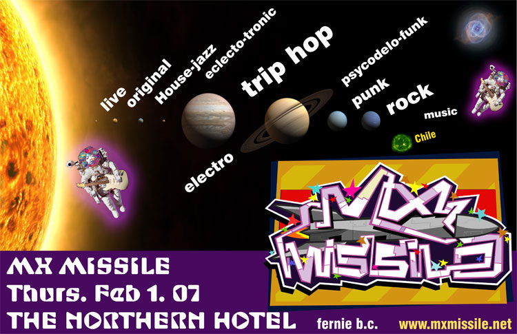 mx missile -  gig poster - northern hotel, fernie