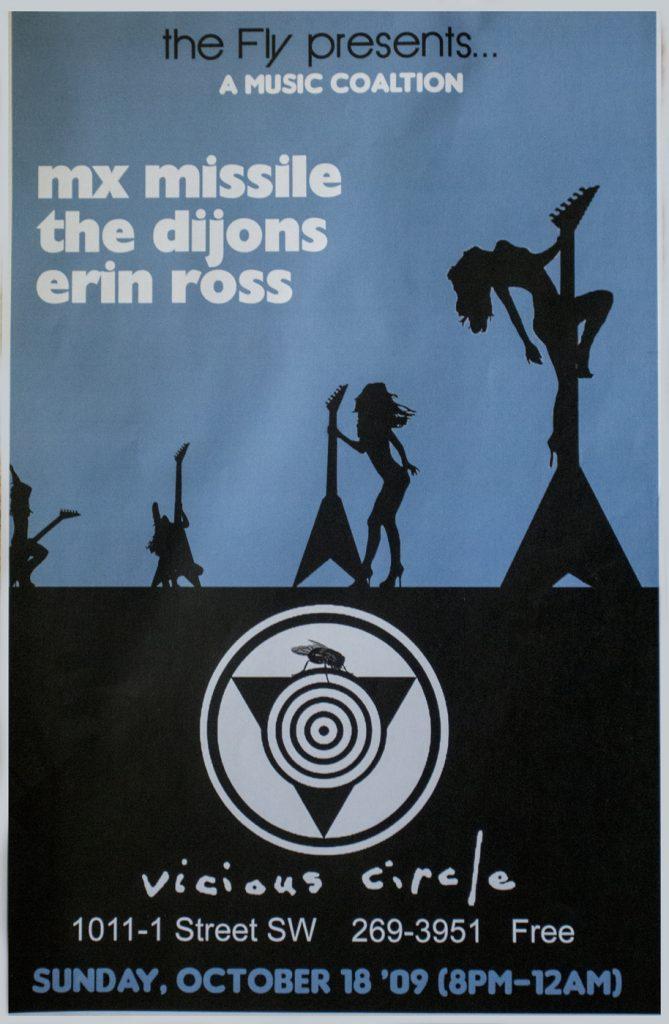 Gig poster: the fly presents mxmissile at Vicious Circle